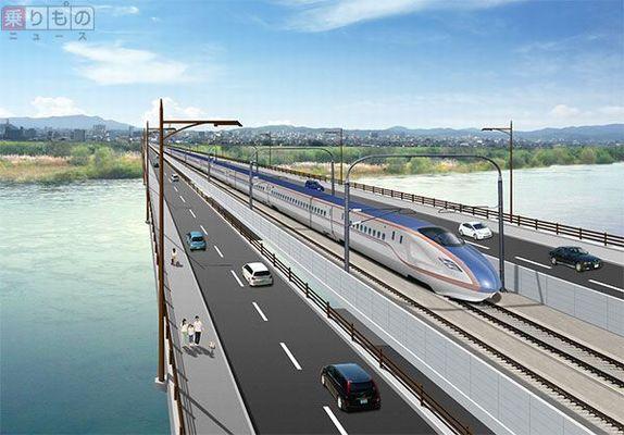 新幹線とクルマが同じ橋を並走 日本初、新幹線と道路の「併用橋」登場 ...
