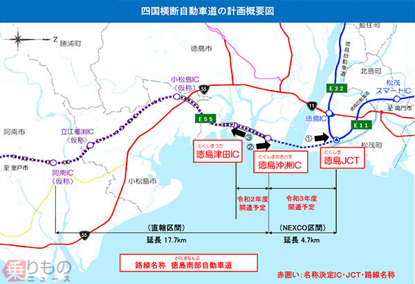 徳島から阿南へ延びる高速「徳島南部自動車道」誕生 徳島市内のJCT・IC名も決定